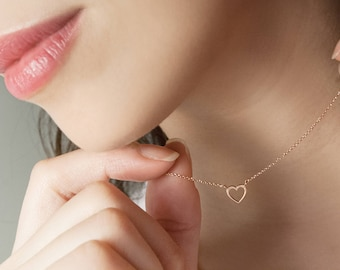 Small Gold Heart Necklace, Rose Heart Pendant, 14K Gold Necklace, Rose Gold, Solid Gold Heart Charm Necklace, Gift For Her, Tiny Gold Heart