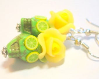Citrus Burst Lemon and Lime Day of the Dead Roses and Sugar Skull Earrings