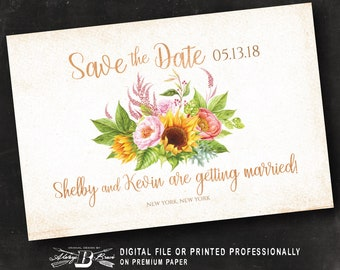 Rustic Save the Date Postcard | Printed or Printable Digital File DIY | Blush Pink Sunflower Save the Date Postcard | Fall Save the Date