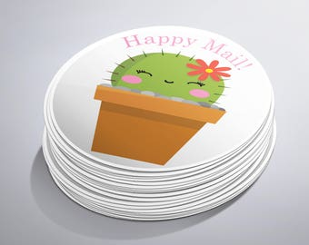 Cactus Happy Mail Sticker, Planner Stickers, Happy Mail Stickers, Shipping Sticker, Mail Stickers, Happy Planner, Cute Stickers, Envelope