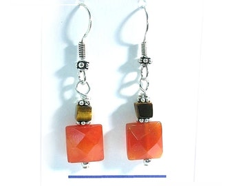 Carnelian Earrings, Orange Carnelian Tiger Eye Earrings E2010-27
