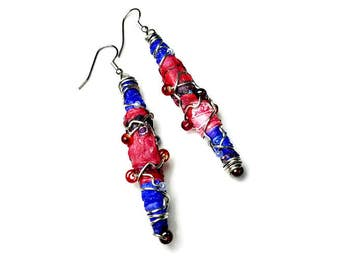 Fiber Art Jewelry, Artsy Statement Earrings, Red and Blue, Repurposed Recycled Upcycled, Bead Dangle Earrings