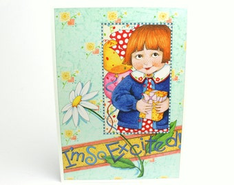Vintage 1993 Mary Engelbreit Happy Birthday Greeting Card - I'm So Excited! Can't Wait To Wish You Happy Birthday - Girl Daisies Party Gifts