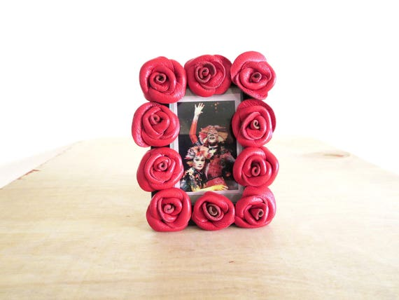 3rd anniversary gift black leather flowers leather mini roses