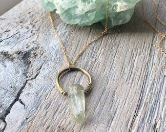 Kunzite Necklace, Gold Horseshoe Necklace, Layering Necklace, Gold Filled Necklace, Gold Bar Necklace