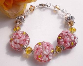 Artisan Floral Lampwork Beaded Bracelet w Golden Swarovski Crystals