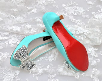 Swarovski crystal Silver Bow Tiffany light aqua Blue satin bridal Wedding peeptoe mid heel red sole Court shoe pump