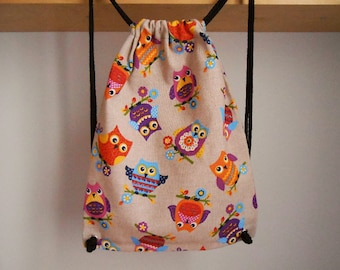 Owl backpack, animal backpack kids, owl bag, owl lovers gift, drawstring bag kids, kids birthday gift, backpack children, backpack for girl