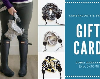 Gift Card Etsy Camera Coats and Straps Photographer Gift Shop | All product locally made | Scarf Camera Strap and Travel Camera Bags | 2017