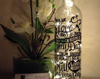 Those we love don't go away light up bottle