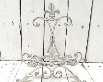Pewter Easel, Silver Metal Easel, Book Stand, Art Prop, Shabby and Chic, Fleur De Lis, Parisian Chic, Cottage Chic, French Country Decor