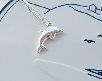 Dolphin Necklace, Sterling Silver Dolphin Necklace, Silver Dolphin Necklace, Dolphin, Gift For Her