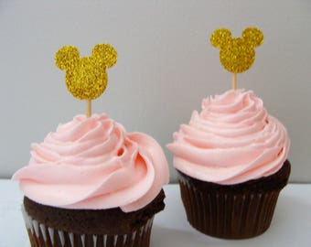 Mickey Mouse Topper, Minnie Mouse Cupcake Topper, Baby Shower Decorations, Gender Reveal Toppers, 1st Birthday Topper, Birthday Party Decor