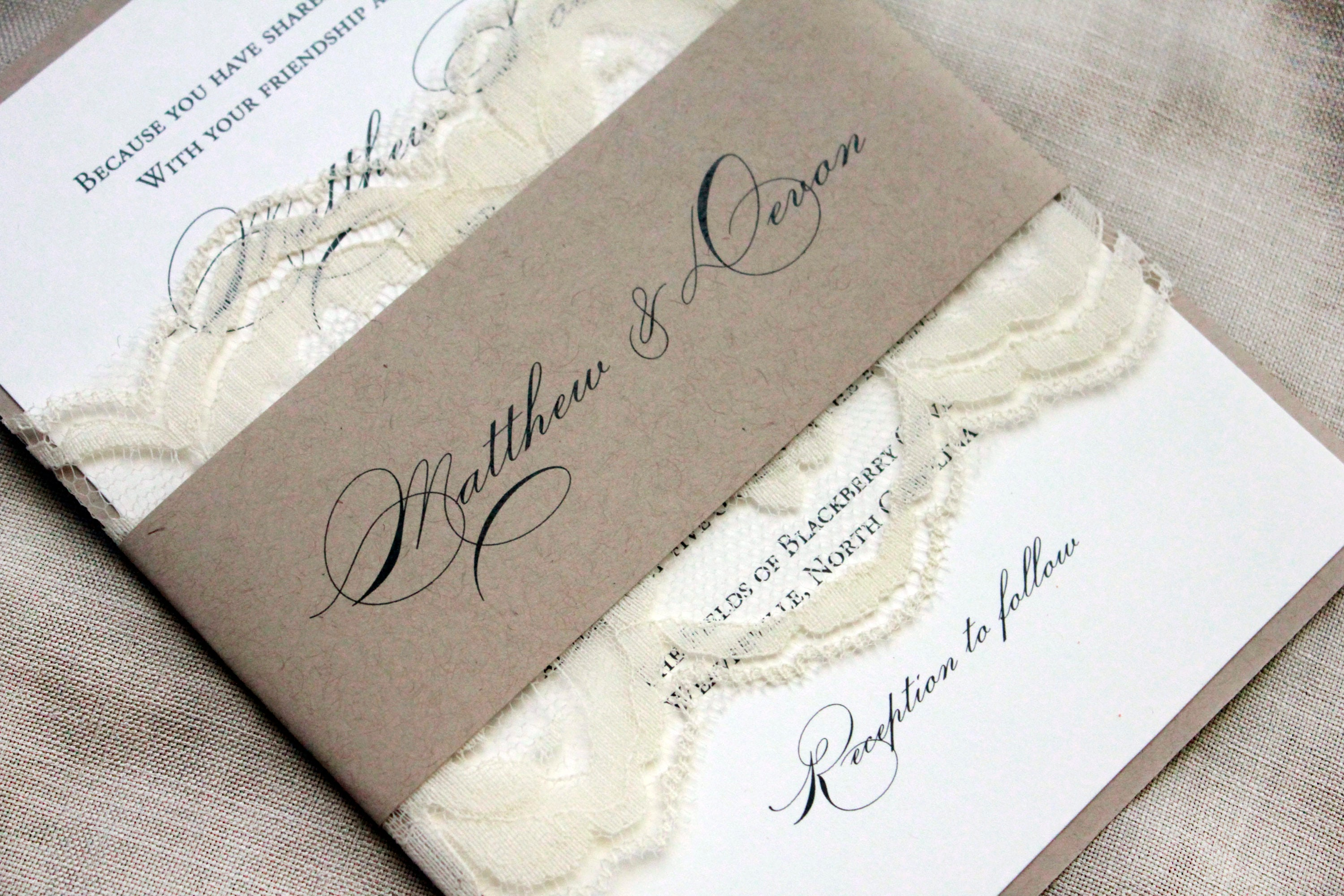 Most Popular Wedding Invitations: Elegant Wedding Invitations Country Lace Wedding Barn
