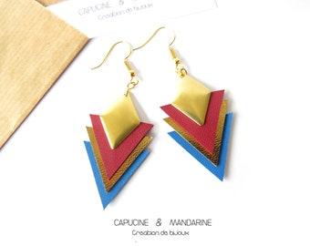 Triangle earrings - leather Burgundy blue {wife jewelry leather Wax earrings}