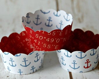 MINI Cupcake Wrappers, Nautical Cupcake Wrappers, Sailing Decor, Reversible Cake Wraps, Cupcake Decoration (set of 12)