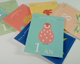Step cards, baby's first year, kit, birth gift