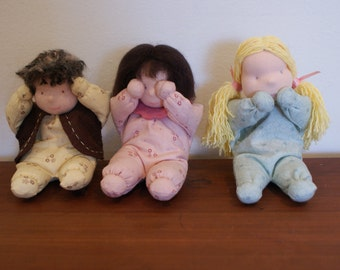 Waldorf style miniature doll quote: Hear no evil, see no evil, say no evil, sister dolls in pastel colors, baby doll, nursery decor