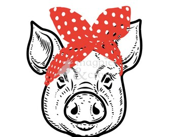 Bandana Pig SVG Rosie Riveter Inspired Bow Cute Piglet HTV Shirt 4H Cut File for Cricut Silhouette Vinyl Decal