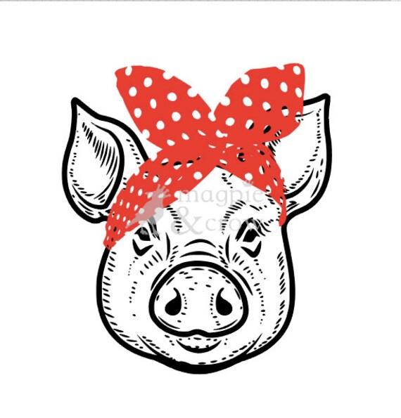 Bandana Pig Svg Rosie Riveter Inspired Bow Cute Piglet Htv