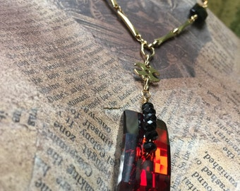 Warm Embers Swarovski Y necklace