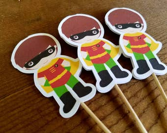 Superhero Friends Party Collection - Set of 12 Robin Cupcake Toppers by The Birthday House