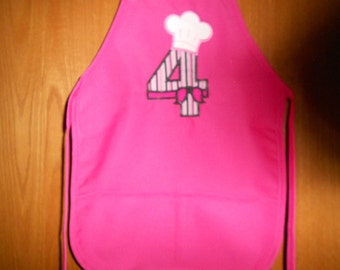Number with chef hat on top and bow Child's  Apron
