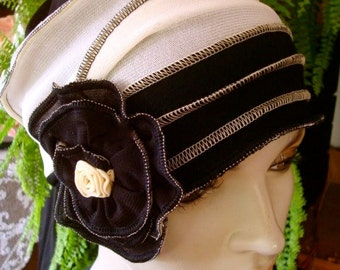Chemo Hat womens soft hat Beanie chemotherapy Headcover Flapper cream black