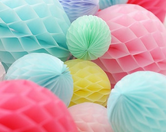 10 paper honeycomb balls set - your colors / wedding party decorations / birthday decor / hanging paper balls / 1st birthday