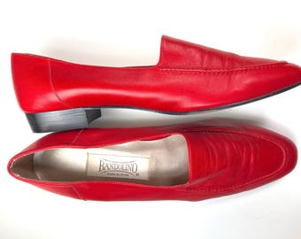 Vintage 1980s Bandolino Cherry Red Buttery Soft Leather Flats/ Womens Size 8.5M/ Made in Spain