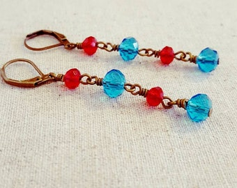 Red Blue Earrings • Red Blue Dangle Earring • Red Blue Drop Earring • Red Blue Glass Earrings • Long Bronze Earrings • Long Dangle Earrings