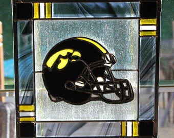 Stained glass Iowa Hawkeye helmet panel