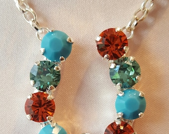 Turquoise & Coral Crystal Horseshoe Necklace