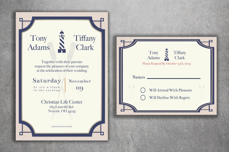 Nautical Wedding Invitations Set, Light House Wedding Invitations ...