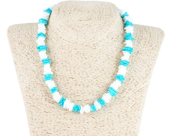 White & Colored Puka Chip Shells Necklace