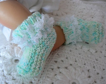 Baby Girl Booties - Baby Shower Gift - Knitted Baby Shoes - Baby Socks - 0-3 months Baby Shoes - Baby Booties - Aqua Baby Shoes Booties