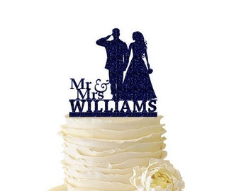 Glitter Mr. and Mrs. Saluting Soldier with Bride Personalized With Name - Wedding - Anniversary -  Acrylic  Cake Topper - 146