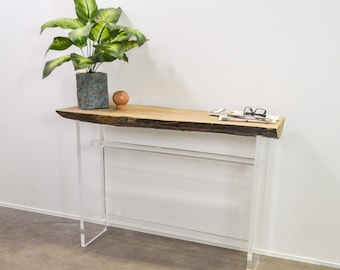 Floating Slab Console Table, Handmade Natural Live Edge Slice Hall or Side Table