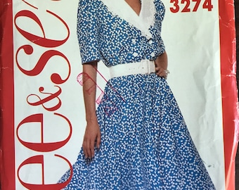 See & Sew 3274 - 1980s Dress with Loose Fitting Blouson Bodice and Flared Skirt - Size 6 8 10 12 14