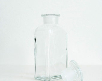 250 ml (8.5 fl oz) Clear Apothecary Jar, Square Czech Glass