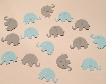200 Blue and Gray Elephant Confetti Light Blue and Gray Confetti Elephant Confetti Baby Confetti Baby Shower Confetti Blue Die Cut