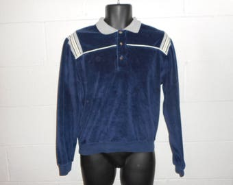 Vintage 80s 90s Velour LS Polo Rugby Shirt Small