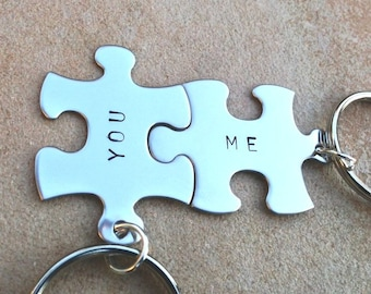 Puzzle key chains, Mothers Day Gift,  love key chains, you and me, couple key chain, mother daughter, personalized key chains,natahaaloha