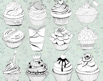 Cute Cupcake Line Art, Cup Cake Digital Stamp, Birthday ClipArt Black and White Illustration, Hand Drawn Digital Graphics, PNG Download