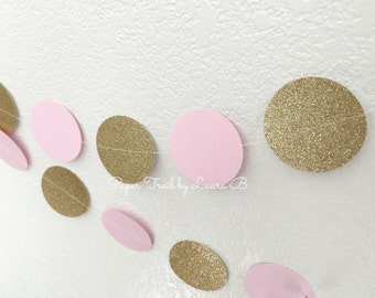 Pink and Gold Glitter Circle Garland, Photo Prop, Party Decorations.  Circle Weddings Decor, Bridal Shower, Baby Shower. 7FT