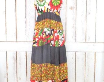 Vintage brown floral tiered flowy bohemian maxi dress/hippie floral long festival dress/90s floral maxi dress