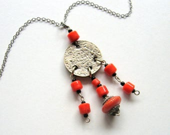 Coin and Trade Beads Necklace - coin necklace, orange beads, long necklace, Earthy necklace, oxidized silver, natural, handmade, boho, ooak