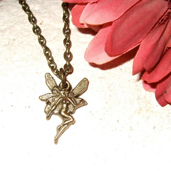 Fairy Necklace, Little Fairy Charm, Dainty Pendant, Bronze Fairy Charm, Simple Necklace, Everyday Jewelry, Fairy Charm, Fairy Jewelry