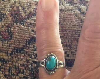 Fred Harvey Era RING Sterling & Turquoise size 6