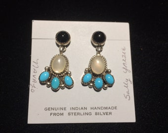 Genuine Authentic Native American Indian handmade turquoise, mother of pearl, onyx earrings